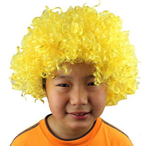 Haar seidig Circus Fancy Dress Perücken Xmas Party Kostüm Halloween liefert, Gelb (Lockige Clown Perücke Gelb)