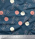 Soimoi Blau Baumwolle Ente Stoff Geometrisch & Polka dots