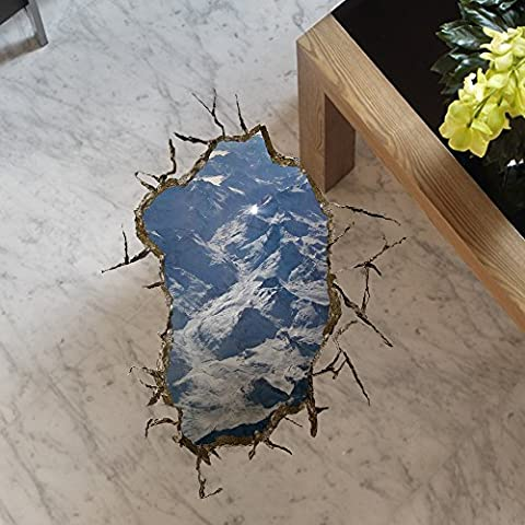 XXTT-Pegatinas creativas pintura 3D estereoscópica ( Súper gran colina) stickers de suelo habitable jardín dormitorio sala de pintura dimensiones pintura decorativa