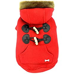 smalllee Lucky tienda cuernos con capucha chaqueta/abrigo con forro polar para pequeño perro/gato,,