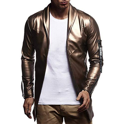 ZIYOU Männer Hip Hop Jacke PU-Leder Luxus Winddicht Streetwear Outwear Mantel Coat Herbst für Herren(2XL,Gold)