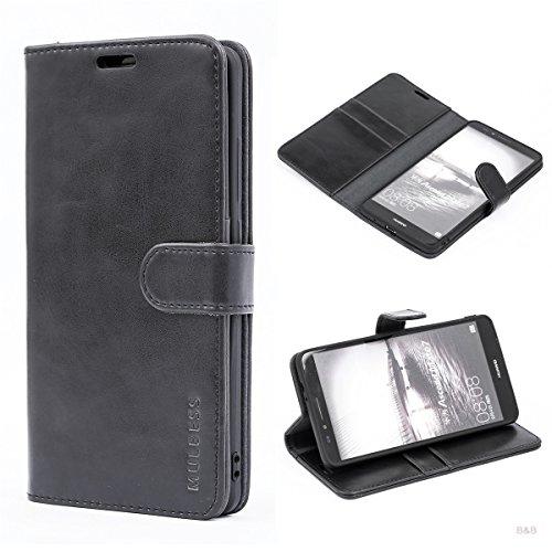 Mulbess (Vintage bookstyle) Premium Handy Schutzhülle Ledertasche im Kartenfach für Huawei Mate 7 (6 Zoll) Tasche Hülle Leder Etui Schale,Schwarz