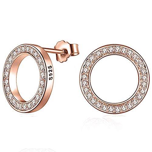 Elensan 925 Sterling Silber Kreis Kristall Ohrstecker Hypoallergen Ohrring für Frauen (Rose Gold) - Silber Kreise