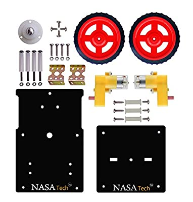 NASA Tech Diy Basic Robotic Kit II Complete Robot Chassis Double Layer Robotic Chassis Motor Wheel Clamp Screw Components