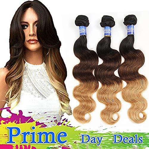 Elee's hair ombre brazilian hair bundles ombre body wave bundles ombre human hair bundles ombre bundles brown virgin hair three tone t1b/4/27 (14 16 18)