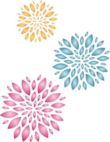 Blumen Schablone-wiederverwendbar Large Wandbild Floral Muster Wand Schablone-Vorlage, auf Papier Projekte Scrapbook Tagebuch Wände Böden Stoff Möbel Glas Holz etc. m