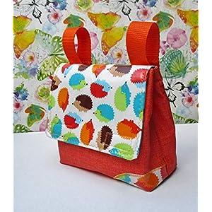 Lenkertasche ,orange, mit Igeln, für Kinderfahrrad und Roller, abwaschbar