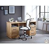 Certeo Schreibtisch in Eiche | Arbeitstisch mit 1 Schwingtür, 3 Schubladen und 2 offene Fächer| 1 Abschließbare Schublade | Esstisch Bürotisch Computertisch