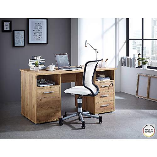 3 Schublade Eiche Schreibtisch (Certeo Schreibtisch in Eiche | Arbeitstisch mit 1 Schwingtür, 3 Schubladen und 2 offene Fächer| 1 Abschließbare Schublade | Esstisch Bürotisch Computertisch)