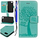 Coque Etui pour iPhone 5S Portefeuille Pu,iPhone SE Étui Folio en Cuir, EUWLY iPhone 5S/SE Coque à Rabat Magnétique Housse Etui de Protection Hibou Arbre Conception Ultra Slim Mince Pure Leather Pu Case avec Dragonne Corde Flip Wallet Protective Case Cover avec Fonction Stand et Fentes de Carte de Crédit Flexible Souple Tpu Coque Intérieure pour iPhone 5S/SE + 1 x Stylet - Vert