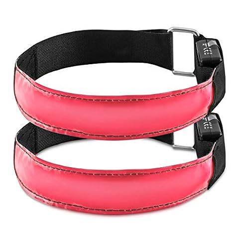 kwmobile 2x LED Leucht Armband - XL Sicherheitsband für Outdoor Sport Joggen Fahrrad Hundehalsband helles Blinklicht reflektierend bei Dunkelheit - pink