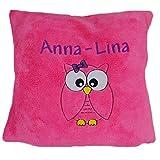 WOLIMBO Eulen Kissen mit Namen pink zur Geburt, Taufe oder Geburtstag 40x40cm Flausch-Material