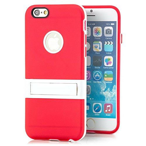 Saxonia Apple iPhone 6 Plus / 6S Plus Hülle Case Slim Silikon Schutzhülle Back Cover Silikonhülle mit Standfuß Transparent Rot