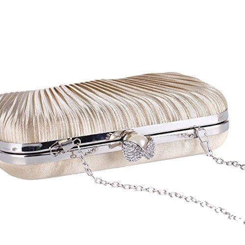 HIDOUYAL Damen Clutches Abendtaschen Handmade Kupplung Umhängetasche mit Kette Beige