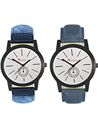 Talgo 2017 New Collection Foxter (combo Of 2) White Round Shapped Dial Leather Strap Fashion Wrist Watch For Boys... - B0763TGK95