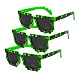 Homme Femme Enfant Lunettes de pixel Lunettes de soleil - Juleya (Paquet de 3) Lunettes de soleil lunettes de soleil Pixel Idéal pour la fête et déguisements