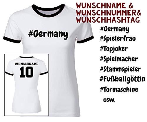 Fußball Damen T-Shirt Deutschland mit Namen, Rückennummer, Hashtag