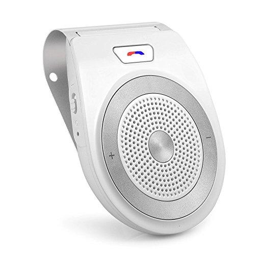 Yetor auto vivavoce,altoparlante portatile per auto, costruire in mic per chiamate viva voce, e musica, supporto per aletta parasole, può collegare due telefoni simultaneamente (pro6-002)