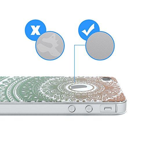 """Apple iPhone 4S / 4 Hülle, EAZY CASE Cover """"Henna"""" - Premium Handyhülle mit Indischer Sonne - Transparente Schutzhülle in Weiß / Transparent Gold / Grün"""