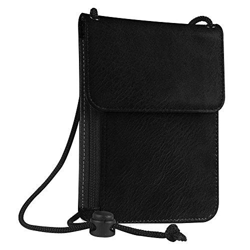 Fintie Pasaporte Funda Cartera Portadocumentos de cuello - Cuero PU Porta Pasaporte de con Protección RFID, Negro