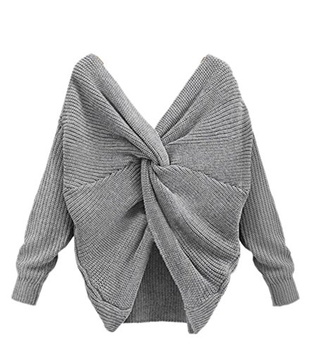 YOUJIA Damen Sweater Backless Cross Wrap V-Ausschnitt Strickpullover Jumper Bluse Top (Grau) (Bluse Wrap Ärmel)
