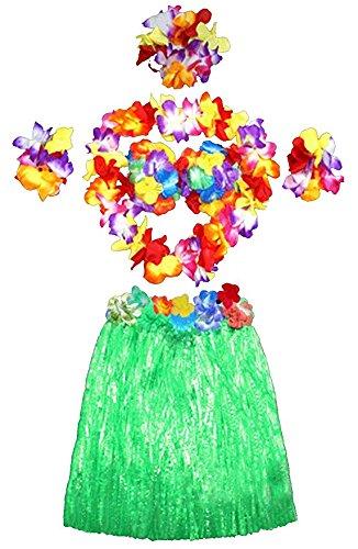 �m set Rock Stirnband Armbänder Blumen Kette BH Grün 40cm (Hawaii-stirnband)