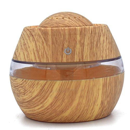 Holzmaserung Ätherisches Öl Aromatherapie Maschine Luftbefeuchter,Jaminy 300ml Luftbefeuchter Ultraschall Diffuser Aromatherapie Luftbefeuchter Holzmaserung Duftspender für ätherische (Gelb)