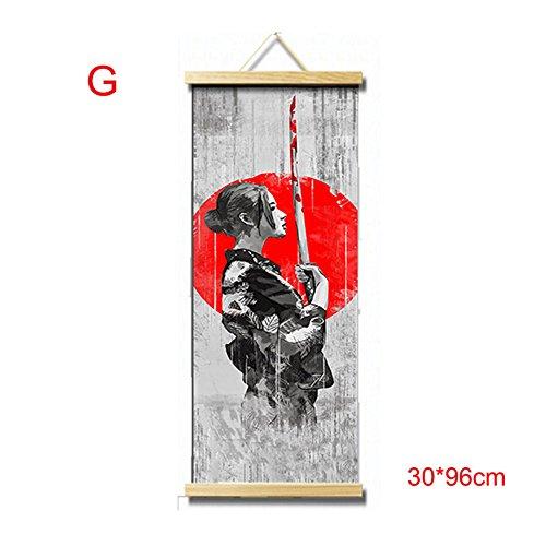 symboat HD lienzo pintura pared Art Póster japonés estilo Home Decor suspendida Image para salón dormitorio, G, 30*96cm