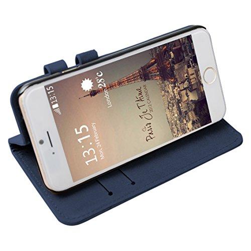 iPhone 6 Plus/6S Plus Cas, Asnlove Étui PU Cuir Extérieur et PC Plastique Dur Intérieur Housse Écureuil de Texture Coque Fente pour Carte Fermoir Magnétique Support Flip Cover Protection de Téléphone  Bleu