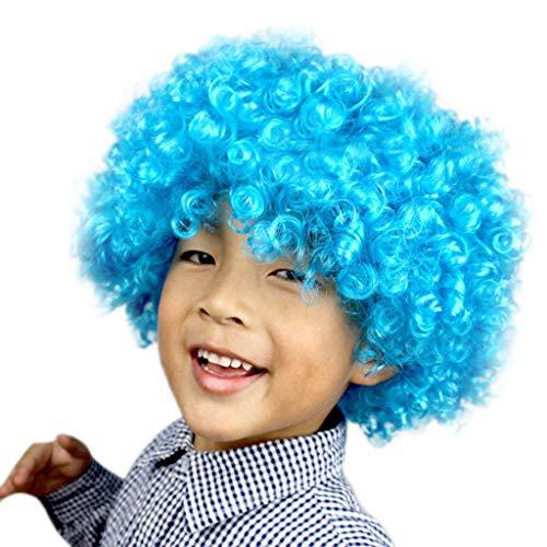 TianWlio Perücken Damen Party Disco Lustige Afro Clown Haar Fußball Fan Kinder Afro Maskerade Perücke I