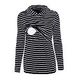Beikoard Herbst und Winter Umstandskleidung Schwangere Frauen gestreiften Kapuzen-Stillen Kapuzen-Schlafpullover