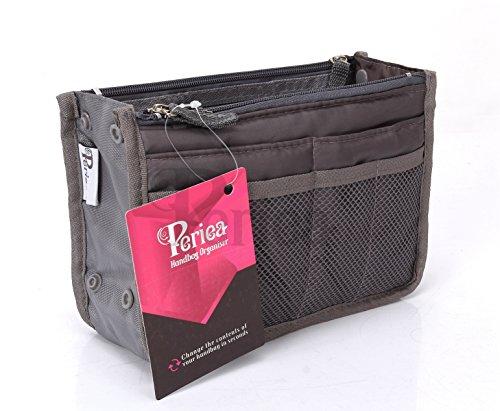 Periea - Organiseur de sac à main, 12 Compartiments - Chelsy (Gris, Petit: H15 x L22 x P2-10cm)
