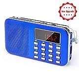 Mini Radio AM FM Haut-Parleur Lecteur de Musique MP3 Support Carte TF / Disque USB PRUNUS avec Fonction rechargeable et...
