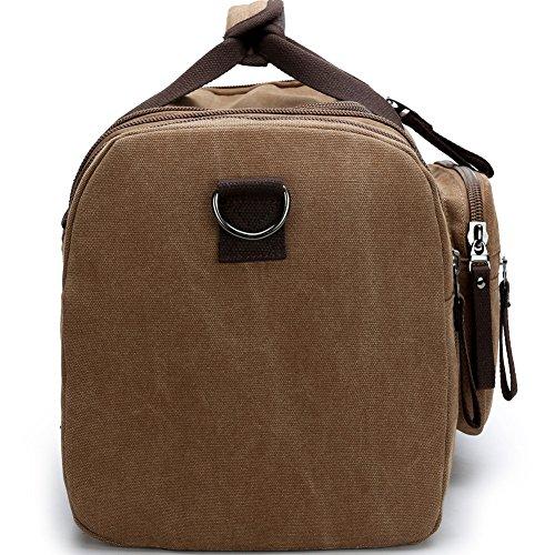 Aidonger Unisex Canvas Großräumige Handtasche Schultertasche Reisetasche (Schwarz) Kaffee-04