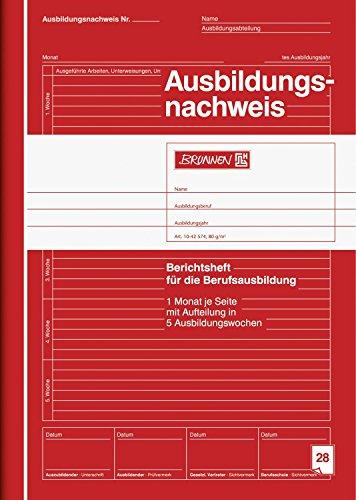 Brunnen 1042574 Ausbildungsnachweis / Berichtsheft, A4, liniert, 28 Blatt, rot (5er Pack)