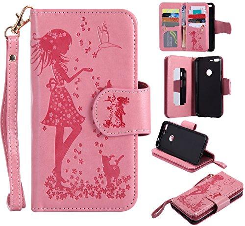 Cozy Hut Custodia iPhone 6 Plus, iPhone 6S Plus Flip Custodia Cover Case, ragazza farfalle fiori gatto modello Creative Disegno stampa stile del libro Portafoglio Cover Case Strap in PU Cuoio Wallet C rosa