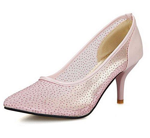 Unie Femme Rose Matière Chaussures Mélangee Pointu Couleur Légeres Stylet AgooLar Tire YdwUd