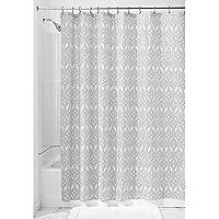 InterDesign Vivian SC Cortina de ducha para el baño | Cortina de baño lavable de tela | Cortinas para ducha con ojales reforzados | Poliéster negro/blanco
