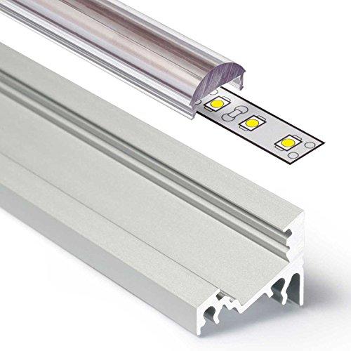 Schrauben Ecke Klammer (2m Aluprofil CORNER (CO) Ecke 2 Meter Aluminium Profil-Leiste eloxiert für LED Streifen - Set inkl Abdeckung-Schiene durchsichtig-klar mit Montage-Klammern und Endkappen (2 Meter transparent lens click))