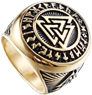 HIJONES Men's Stainless Steel Valknut Norse Viking Odin Symbol Ring Warrior Signet Biker