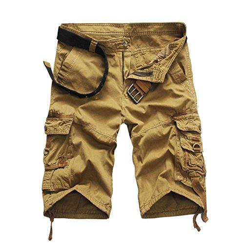 Preisvergleich Produktbild Herren Shorts Kurze Hose,  Dasongff Herren Vintage Cargo-Shorts mit Taschen Strand Arbeits-Zufällige Kurze Hosen Freizeit Sports Shorts Somme (38,  Khaki)