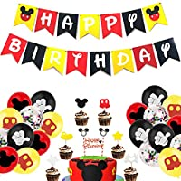 Mickey Mouse Party Supplies,Mickey Mouse Birthday Party Supplies Decorations,Mickey Mouse Birthday Decorations Kit,for Mickey Theme Party Baby Birthday Party Mickey Mouse Theme Party Supplies