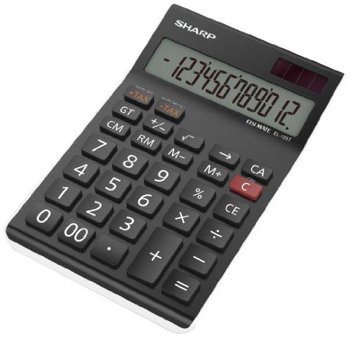 Sharp Electronics EL125TWH Tischrechner 12 Stellen, Steuerberechnung, schwarz/weiß