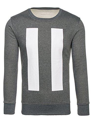 BOLF Herren Sweatshirt Langarmshirt Modern Rundhals JSTYLE J59 Dunkelgrau XXL [1A1] |