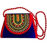 DMS RETAIL Traditional Kutchi Rajasthani Sling Bag Clutch Bag Embroiderey Sling Bag For Women And Girls Blue