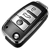 COVELL für Audi Autoschlüssel Hülle, Prämie Weiches TPU Schutzhülle Schlüsselhülle für Audi A1 A3 A6 Q2 Q3 Q7 TT TTS R8 S3 S6 RS3 RS6 Autoschlüssel, Silber