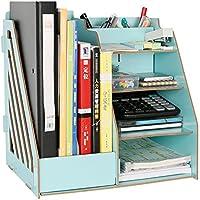 yiliay in legno scrivania forniture per ufficio Storage Box Desktop Organizer porta file dividers-green