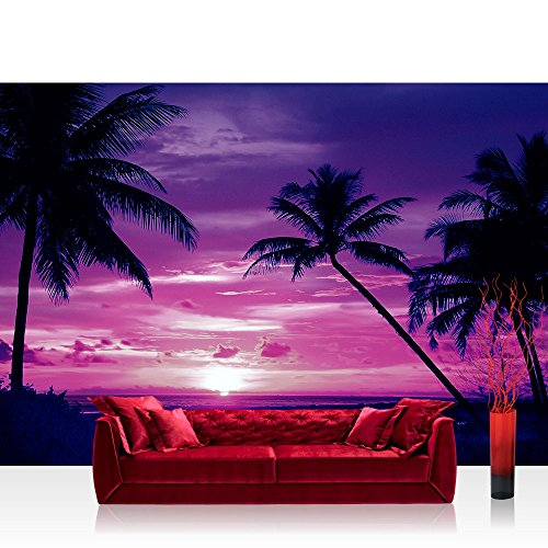Fototapete 368x254 cm PREMIUM Wand Foto Tapete Wand Bild Papiertapete - Sonnenuntergang Tapete Meer...