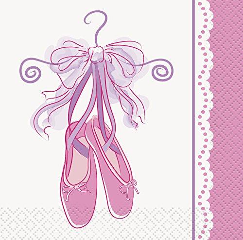 Unique Party 49481 - Tovaglioli di Carta Rosa a Tema Ballerina, Confezione da 16