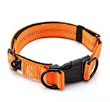 ALAMP Perro Collares de 3M Reflectante seguridad Ajustable resistente Nylon Calidad Hebilla Collar para Perros Medianos o Grandes(17-23 inch)